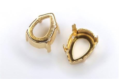 """Оправа #4320 Pear Rhinestone для Swarovski 14*10 мм """"Gold"""" - фото 15259"""