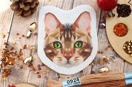 Шаблон бенгальской кошки на фетре или батисте  - фото 16300