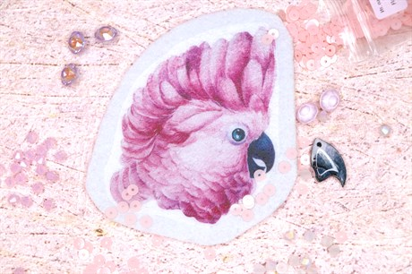 Шаблон розового какаду на фетре или батисте - фото 16564