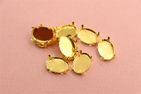 """Оправа #4120 Oval 14*10 мм """"Gold"""" - фото 6837"""