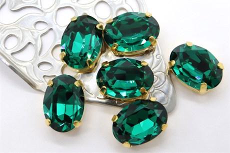 #4120 Oval 14*10 мм Emerald - фото 8700