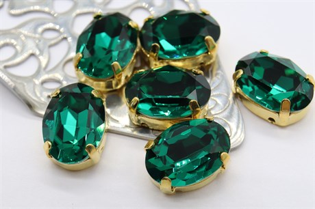 #4120 Oval 14*10 мм Emerald - фото 8701