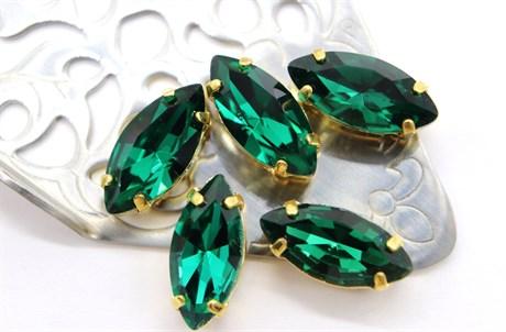 #4200 Navette 15*7 мм Emerald - фото 8752
