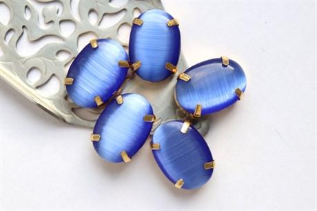 Шелковый кристалл 18*13 мм, Синий Кобальт - фото 9051