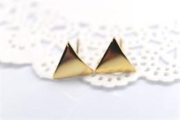 """Пусеты 10*9 мм (Корея), позолота 18к, """"Треугольник"""""""