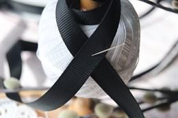 Репсовая лента 12 мм, Черный янтарь (№123)