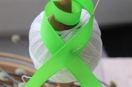 Репсовая лента 12 мм, Неоновый зеленый (№073)