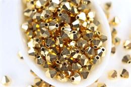 Биконусы Preciosa 4 мм, Crystal Aurum Full