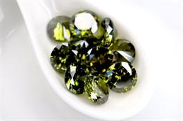 Фианит 10 мм, Темно-оливковый