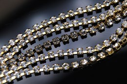 Стразовая цепочка Preciosa 2 мм, Gold Crystal
