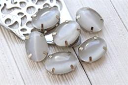 Шелковый кристалл 18*13 мм, Серый мех