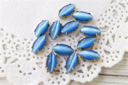 Шелковый кристалл 10*5 мм, Защитно-синий