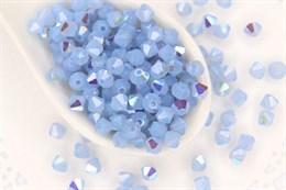 Биконусы Preciosa 4 мм, Light Sapphire Opal AB