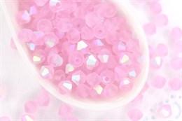 Биконусы Preciosa 4 мм, Pink Sapphire AB Matt