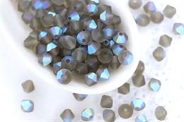 Биконусы Preciosa 4 мм, Black Diamond  AB Matt