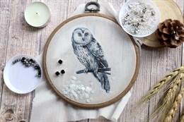 Шаблон полярной совы на фетре или батисте