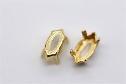 """Оправа  #4228 Navette Swarovski 10х5 мм """"Gold"""""""