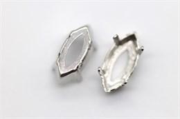 "Оправа  #4228 Navette Swarovski 15х7 мм ""Platinum"""