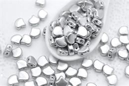 Ginkgo бусины 7,5х7,5мм-Matte Metallic Silver (K0170)