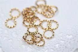 Соединительные колечки витые,  золото 18k , 8 мм