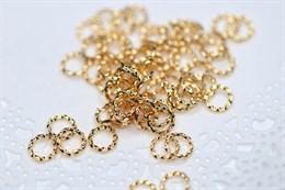 Соединительные колечки витые,  золото 18k , 6 мм