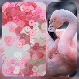 "Микс фр. пайеток, ""Коралловый фламинго"""