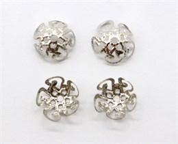 Шапочки для бусин 8 мм, Silver