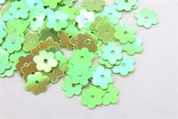 Пайетки цветочек 6 мм, AB Green