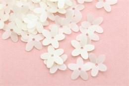 Пайетки цветочек 10 мм, White