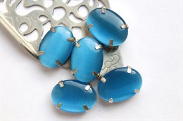 Шелковый кристалл 18*13 мм, Защитно-Синий