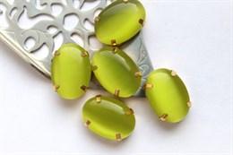 Шелковый кристалл 18*13 мм, Ярко-Оливковый
