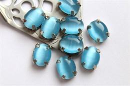 Шелковый кристалл 10*8 мм, Средне-голубой