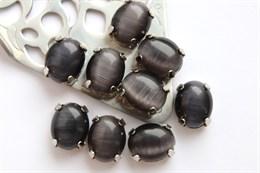 Шелковый кристалл 10*8 мм, Черный янтарь