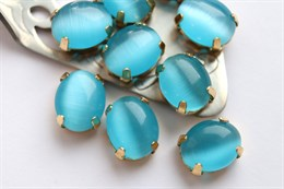 Шелковый кристалл 10*8 мм, Бирюзово-голубой