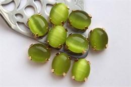 Шелковый кристалл 10*8 мм, Ярко-оливковый