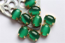 Шелковый кристалл 10*8 мм, Темный весенне-зеленый