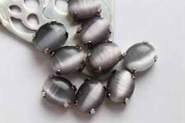 Шелковый кристалл 10*8 мм, Шиншилла